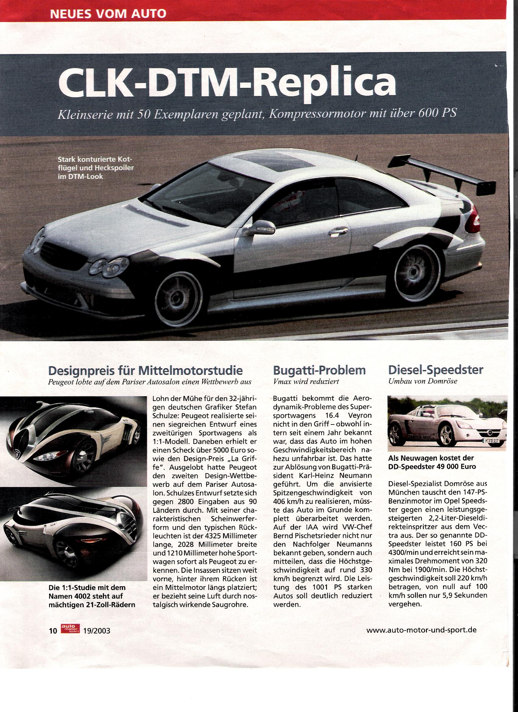 """Auto-Motor-und-Sport, 19. Februar 2003, """"CLK-DTM-Replica"""" über Domröse Diesel"""