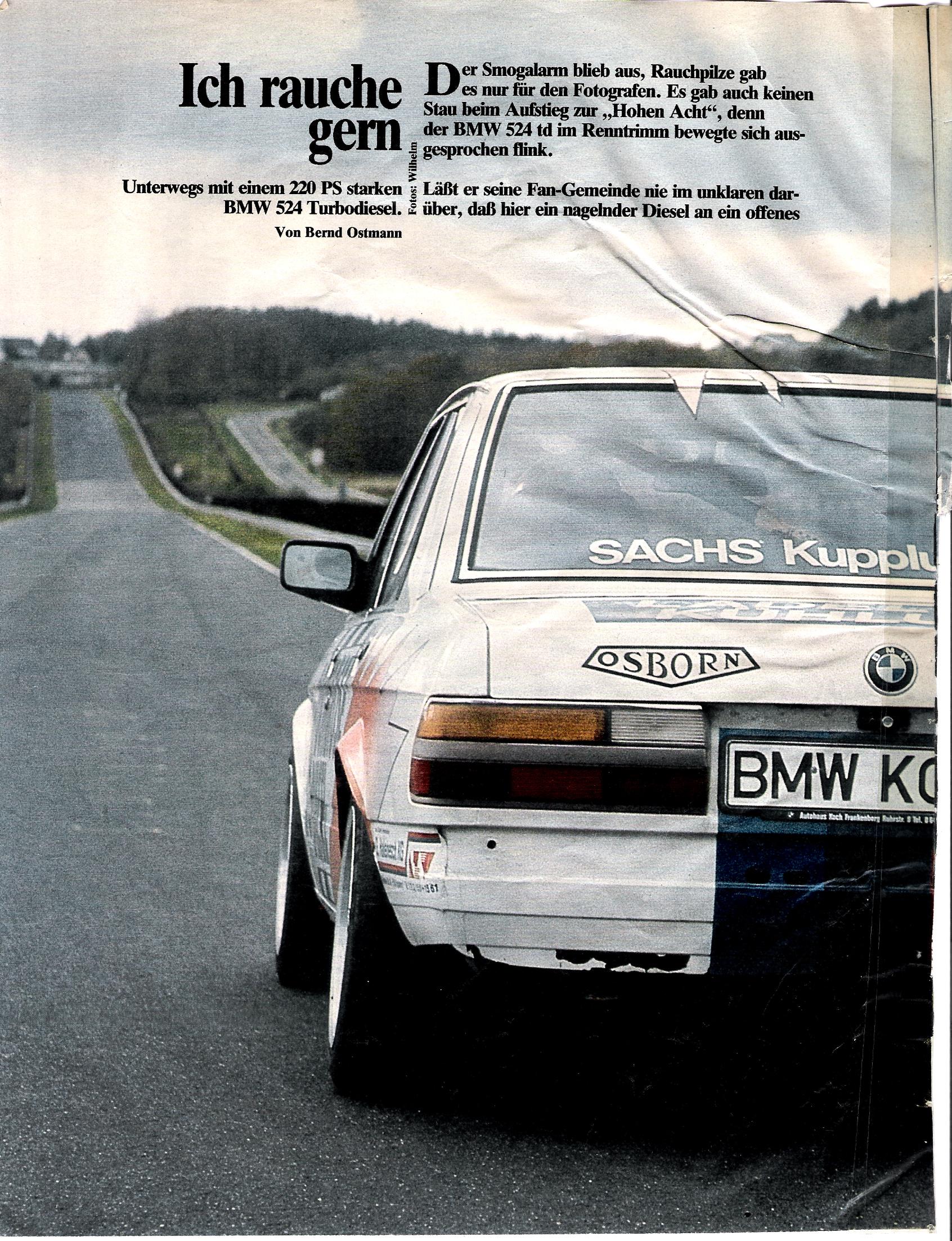 """""""Ich rauche gern"""" - 524 td in der Auto-Motor-Sport 24, 1986"""