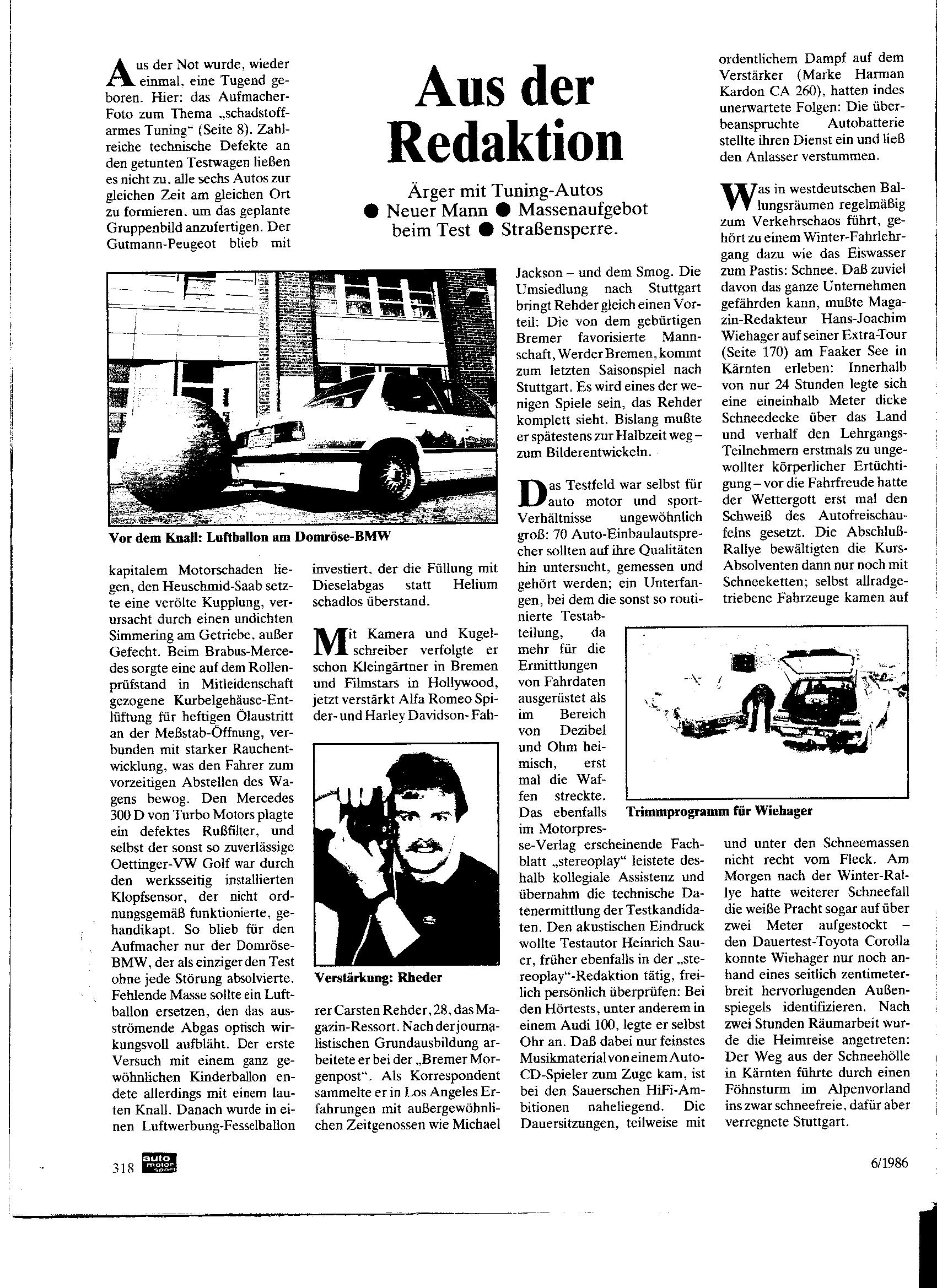 Auto-Motor-Sport Juni 1986 Tunervergleich Ausfall: Nur der Domröse Diesel hält durch