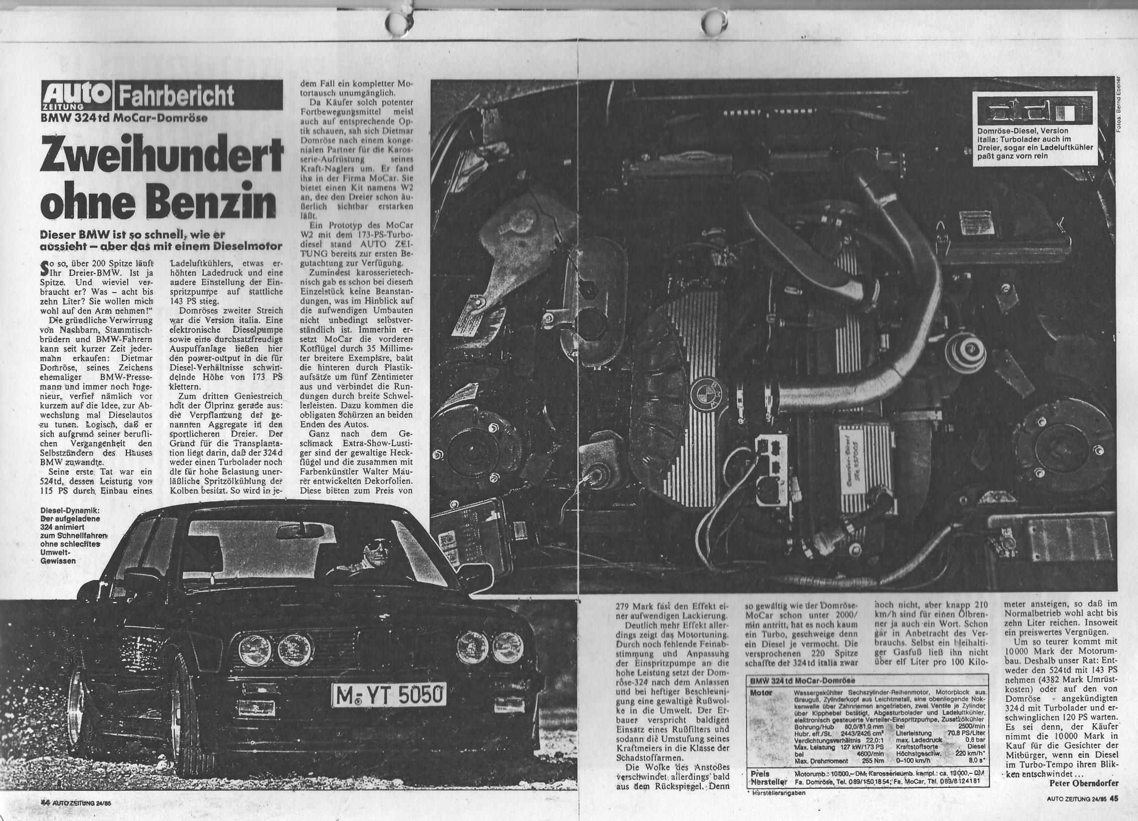 """Autozeitung 1985, """"Zweihundert, aber mit Diesel"""" - Domröse Diesel"""
