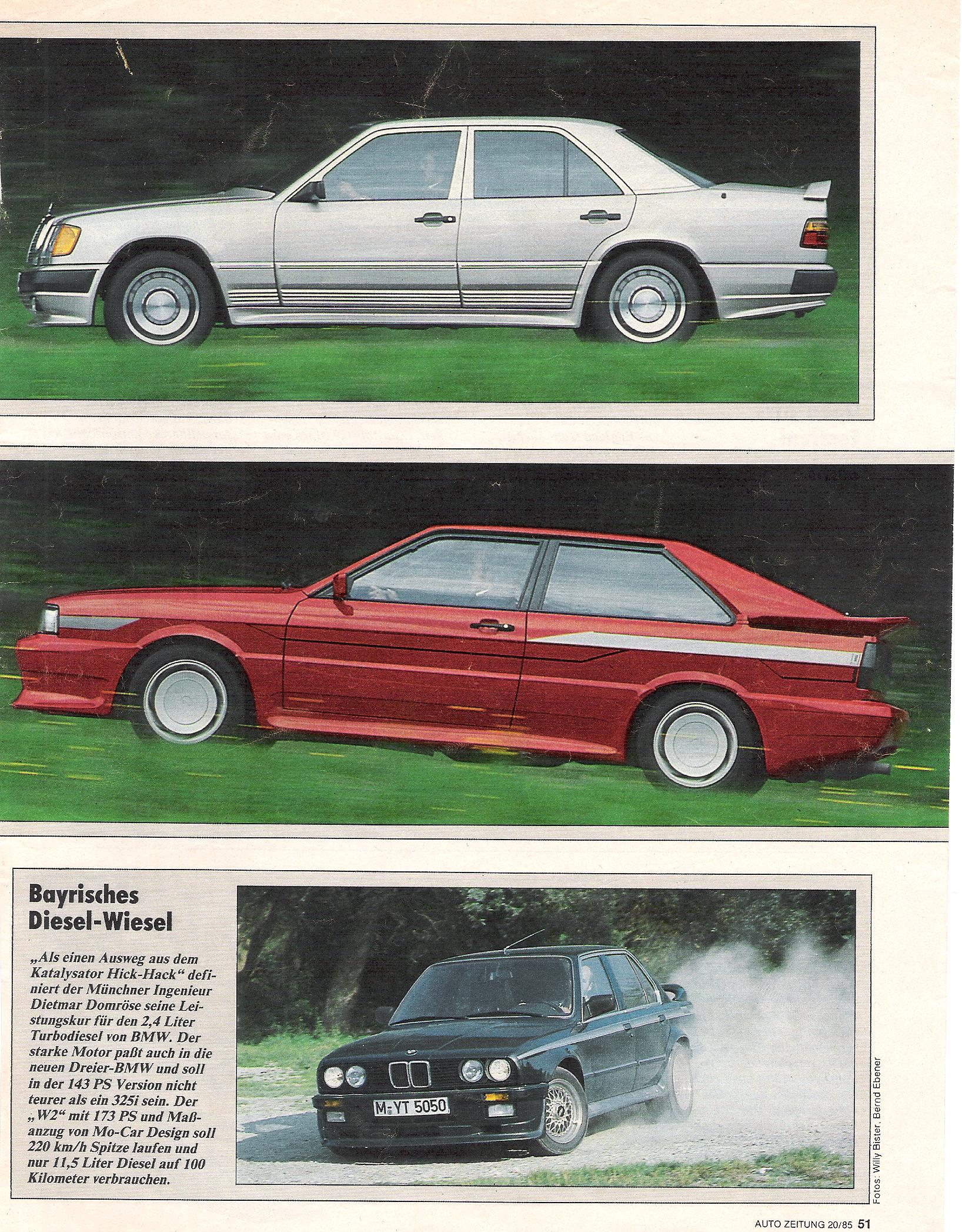 """AutoZeitung 1985, """"Münchner Diesel-Wiesel"""""""