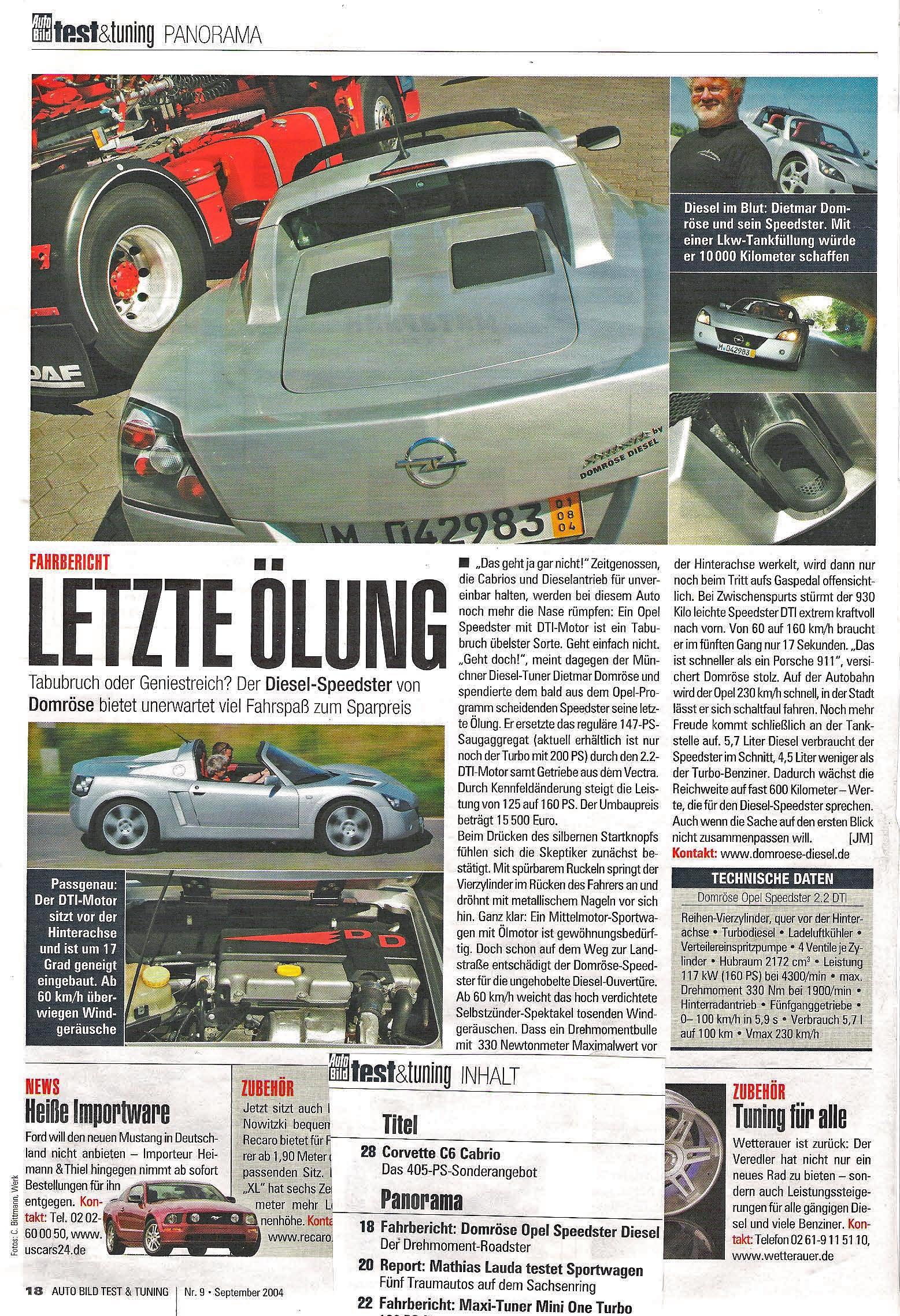 """Test & Tuning Oktober 2004 - Opel Speedster, """"Letzte Ölung"""" über Domröse Diesel"""